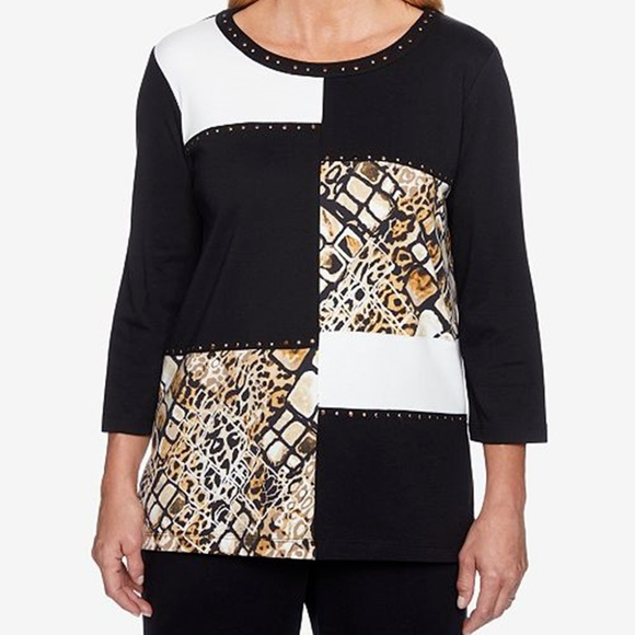 Alfred Dunner Tops - Alfred Dunner Cotton Colorblock Top Shirt
